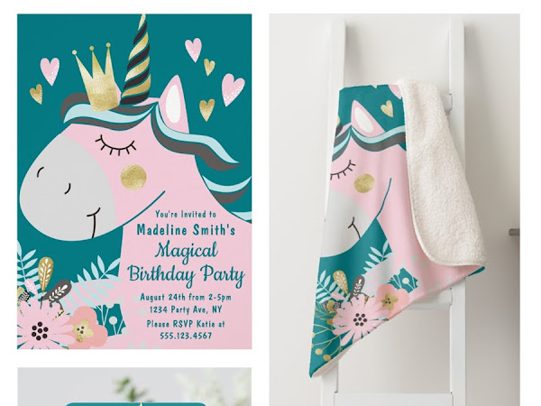 Chic Floral Magical Unicorn Girl's Birthday Party Invitation Suite