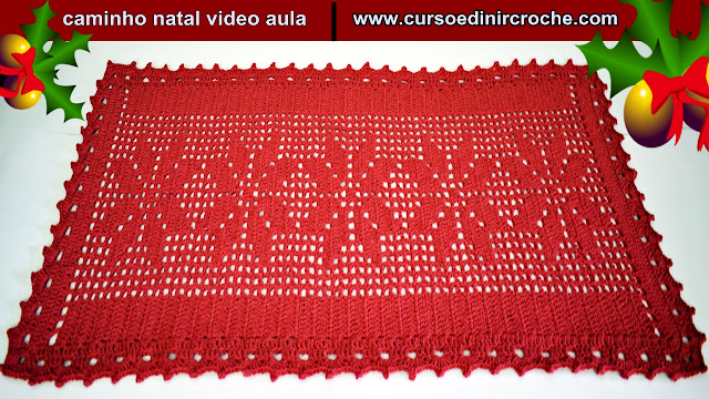 caminho de mesa natal em croche curso club edinir croche facebook youtube pinterest instagram