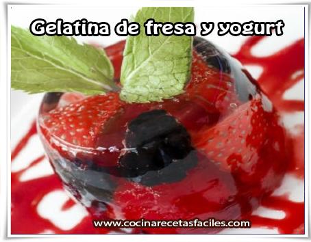 Postres y helados, gelatina de fresa y yogurt
