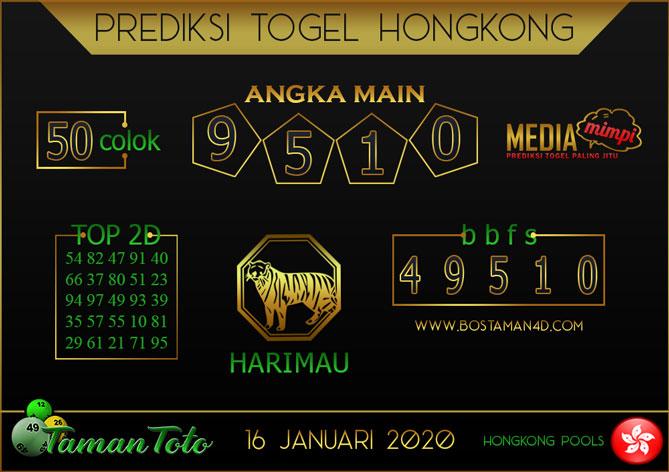 Prediksi Togel HONGKONG TAMAN TOTO 16 JANUARI 2020