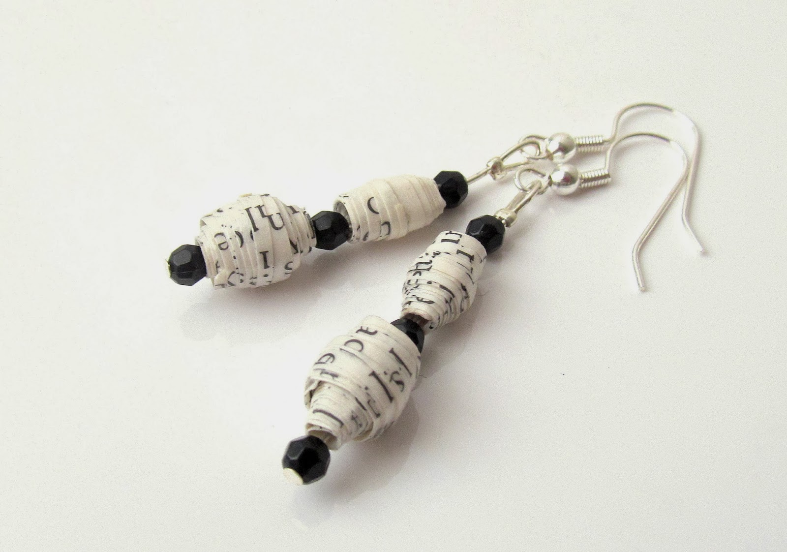 Paper bead earrings by Pink Flamingo Handcrafting