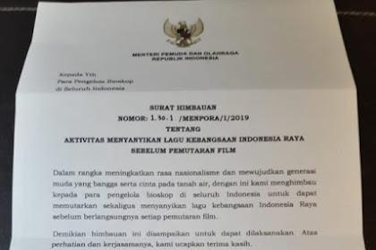 GRUSA GRUSU LAGI... Baru Diteken, Surat Menpora Nyanyi Lagu Indonesia Raya di Bioskop Dibatalkan