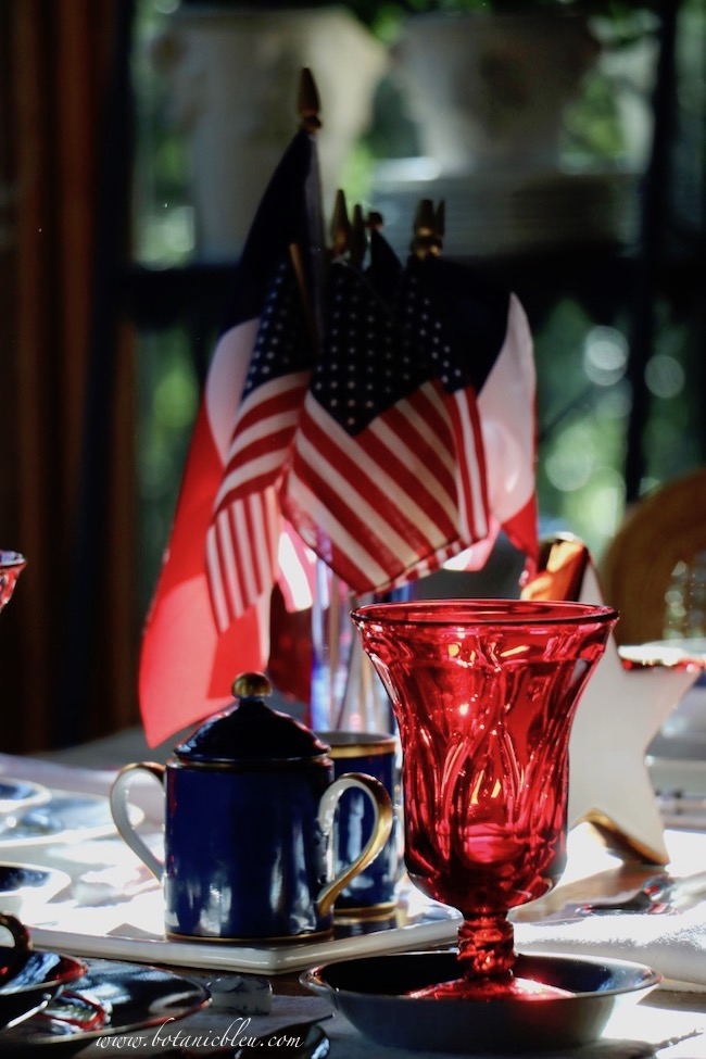 Labor Day patriotic French Country table setting uses deep rich blue and red