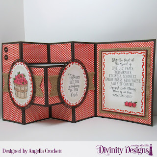 Divinity Designs Stamp Set: Fruit of the Spirit, Custom Dies: Half-Shutter Card with Layers, Lavish Layers, Ornate Ovals, Ovals, Sewing Kit, Paper Collection: Old Glory