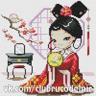 japan small girll cross stitch pattern