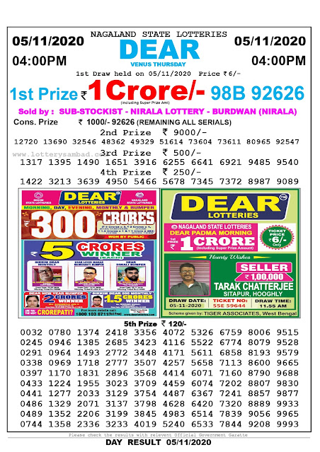 nagaland State Lottery Result 05-11-2020, Sambad Lottery, Lottery Sambad Result 4 pm, Lottery Sambad Today Result 4 00 pm, Lottery Sambad Old Result