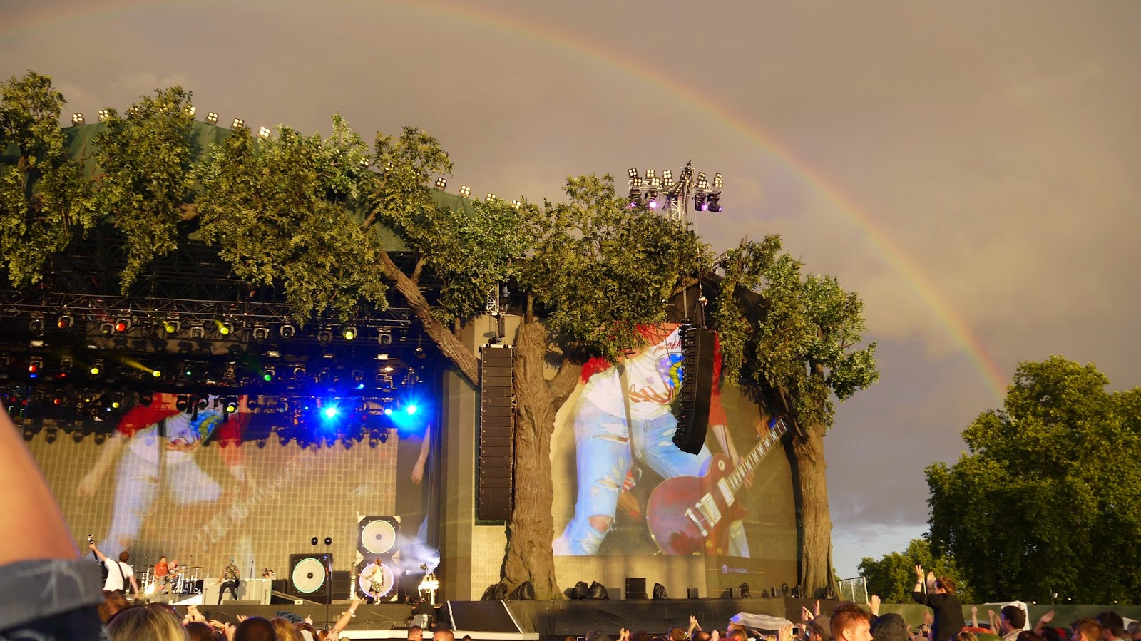 Rainbow over McBusted at British Summer Time Hyde Park