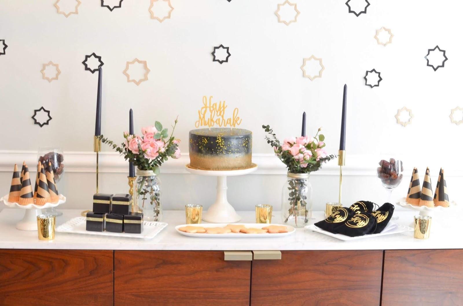 Minimal And Modern Diy Hajj Party Setup Dessert Table
