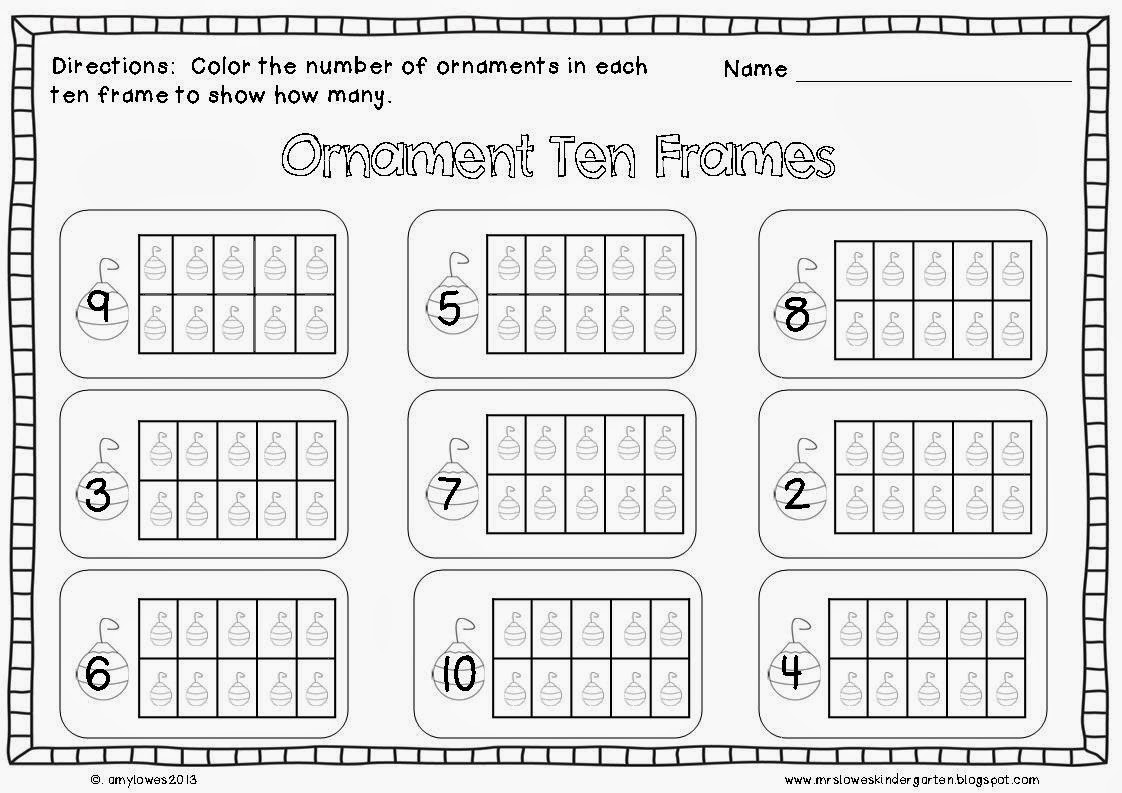 Ten Frame Coloring Worksheet