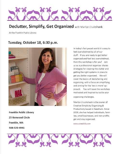 Declutter, Simplify, Get Organized with Marilyn Cruickshank, Tuesday, October 18