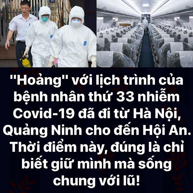 Lịch trình của bệnh nhân thứ 33 nhiễm Covid-19 đi từ Hà Nội, Quảng Ninh cho đến Hội An