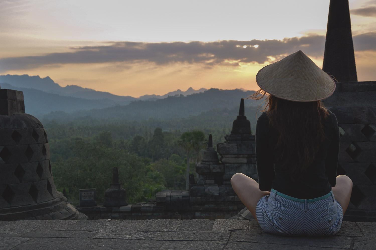 Meditating in Borobudur, Indonesia