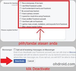 Cara menonaktifkan akun facebook lewat PC