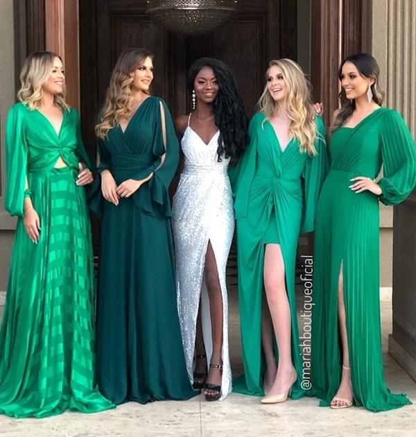 vestido verde bandeira  e esmeralda para madrinha de casamento