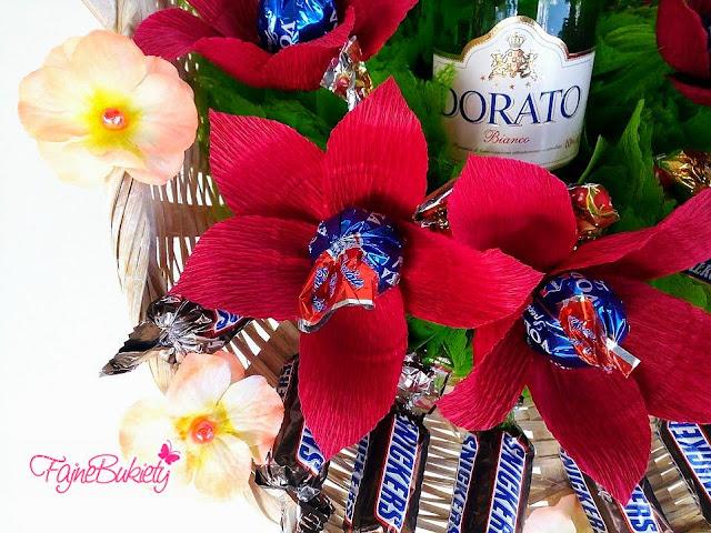 Koszyk z cukierkami i szampanem