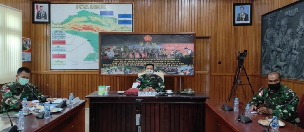 Kasrem 174 Merauke Ikuti Rakorter TNI Tahun 2021 Secara Virtual