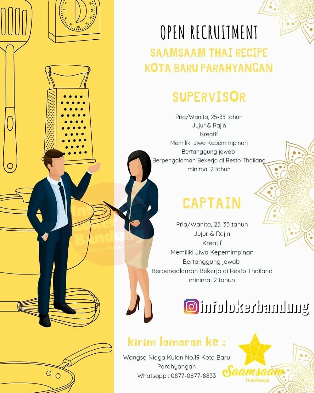Lowongan Kerja Superviser & Captain Saamsaaam Thai Recipe Bandung Oktober 2019