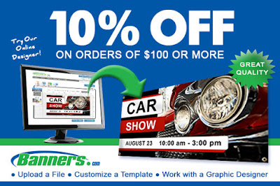10% off orders of $100 or more at Banners.com through 5/14/16