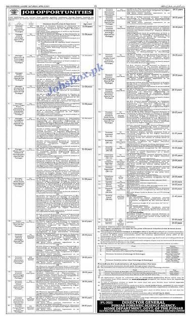 punjab-forensic-science-agency-pfsa-jobs-2021-april-advertisement