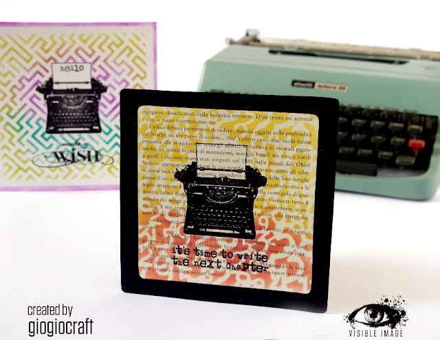typewriter stamp - stencil - handmade card