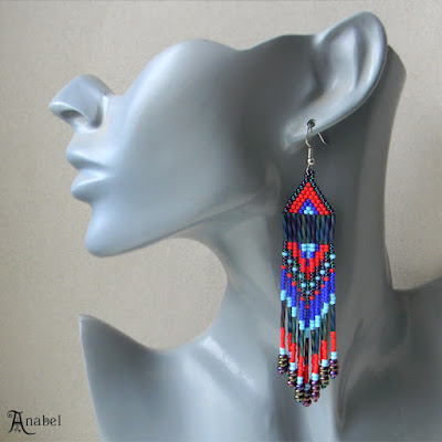 beaded earrings beadwork beadweaving seed bead jewelry