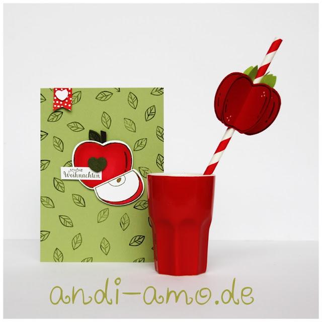 Stampin Up Karte und Strohhalm mit Apfelstanze