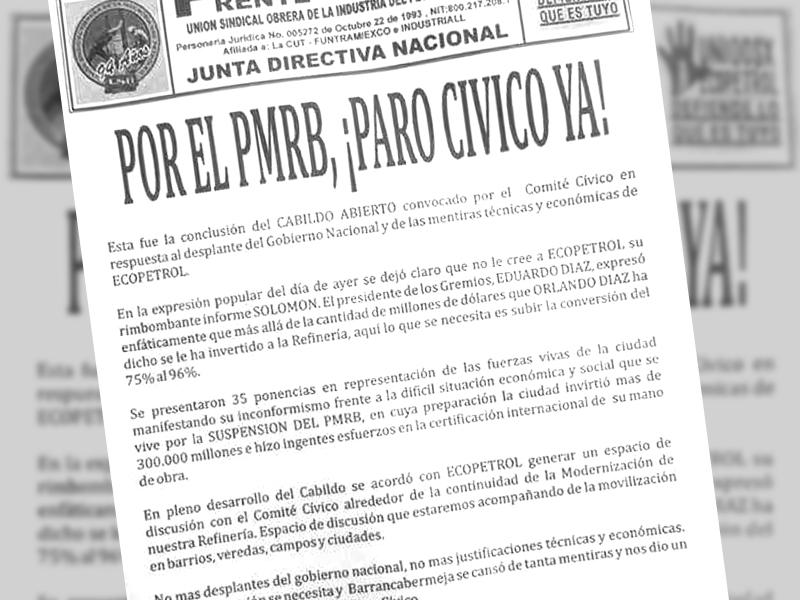 Por el PMRB, ¡Paro Cívico ya!