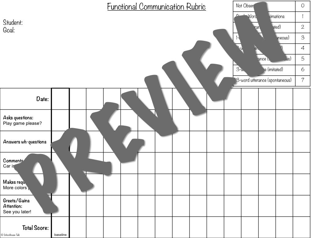 Schoolhouse Talk!: Using Rubrics to Track Speech Therapy Data