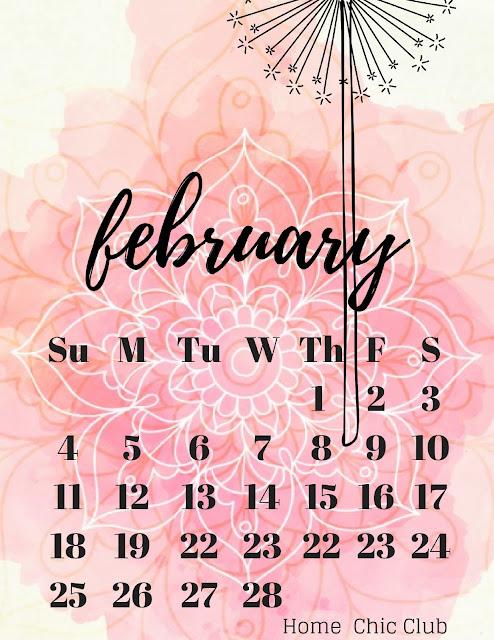 February 2018 Calendar +  Freebie