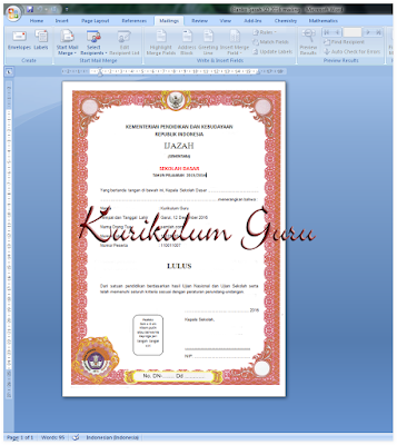 Download Blanko Ijazah Sementara SD 2016 Format MS. Office Word (Mailing)