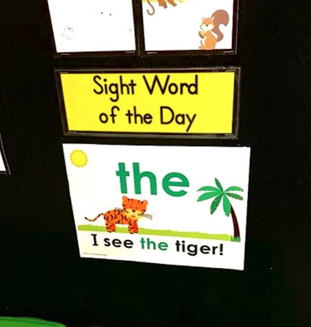 Sight word of the day poster, sample word: the. Includes context sentences!
