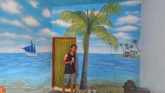Lukisan Pemandangan Alam Gunung Pantai 3 Dimensi