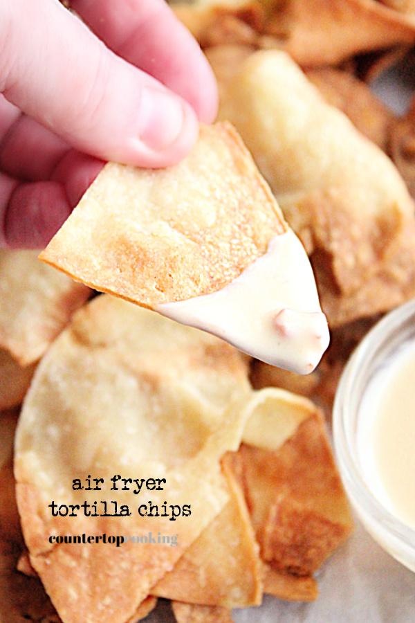 Air Fryer Tortilla Chips- Countertop Cooking #countertopcookingblog #tortillachips #airfryer