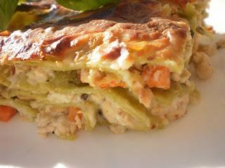 Lasagne with chicken ragout