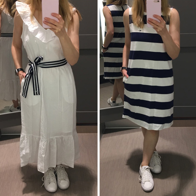 vineyard vines for target white ruffle V neck dress and striped dress