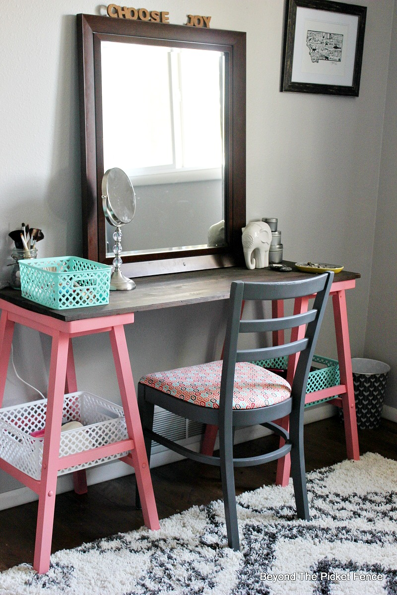 Beyond The Picket Fence: Teen Attic Bedroom + An Easy Vanity