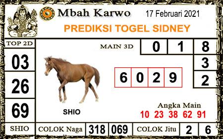 Prediksi Jitu Mbah Karwo Sdy Rabu 17-Feb-2021