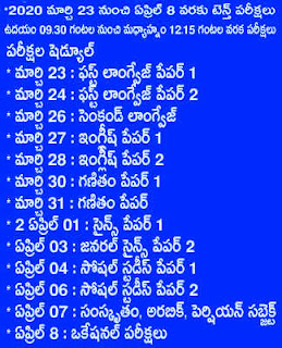 SSC PUBLIC EXAMINATIONS TIME TABLE - MARCH 2020