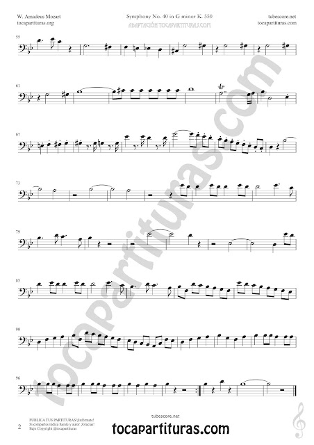 Hoja 2 Violonchelo y Fagot Partitura de Sinfonía Nº 40 Sheet Music for Cello and Bassoon Music Scores PDF y MIDI aquí