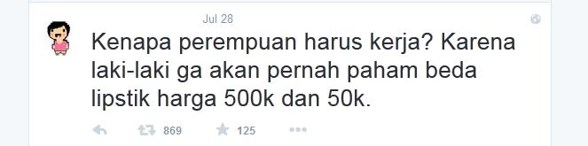 Tweet bedanya lipstik 50K dan 500K