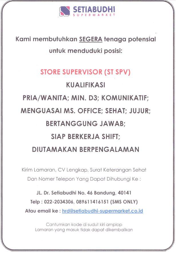 Lowongan Setiabudhi Supermarket Bandung Posisi Store Supervisor