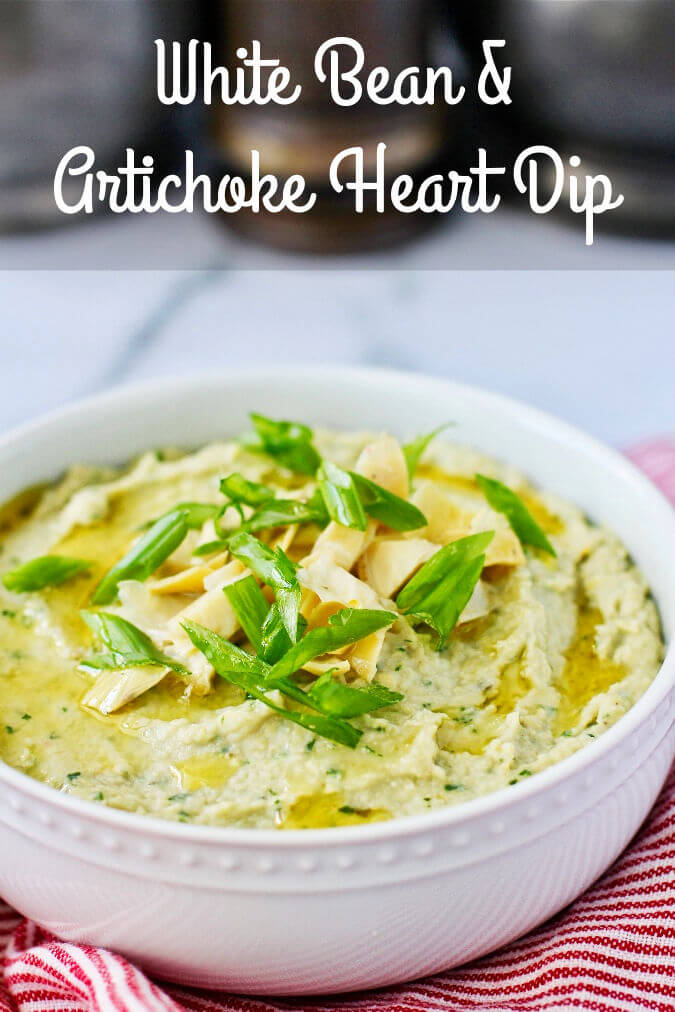 White Bean and Artichoke Heart Dip in a bowl