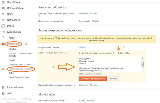 ajouter un fichier Robots.txt personnalisé dans Blogger (Blogspot)