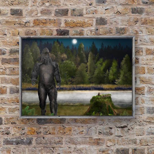 Bigfoot art, sasquatch art, Mark Taylor, Primal art, primate art,