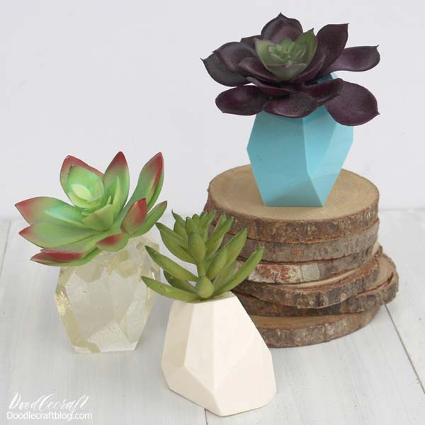 Geometric succulent holders made with Easy Cast and Fast Cast resin.