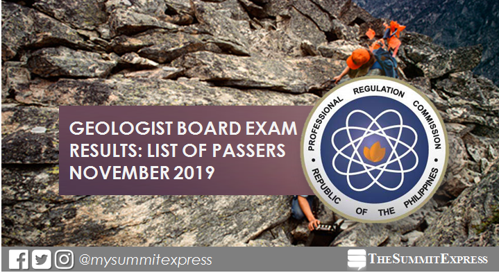 FULL RESULTS: November 2019 Geologist board exam list of passers, top 10