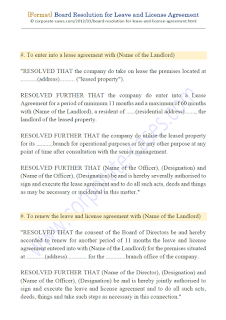 board resolution for renewal of leave and license agreement
