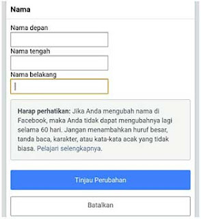 cara merubah nama profil facebook untuk pertama kali