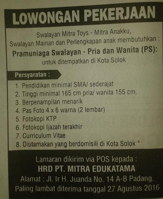Lowongan Kerja di Solok – PT.Mitra Edukatama – Pramuniaga (Penutupan 20 Agustus 2016)