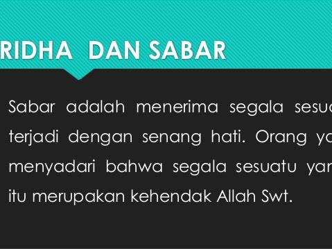Sabar Itu Wajib Dan Ridho Itu Sunnah